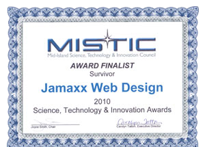 MISTIC Award Finalist Survivor JAMAXX Web Design 2010